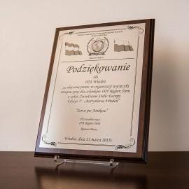 Dyplom, certfikat na srebrnym laminiacie A5