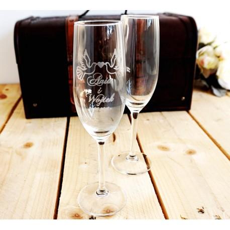 Zestaw dwa kieliszki do szampana z grawerem