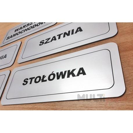 Srebrna samoprzylepna tabliczka na drzwi- 18 x 6 cm