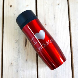 Czerwony kubek termiczny z grawerem