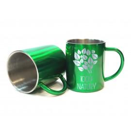 Metalowy kubek z grawerem- zielony
