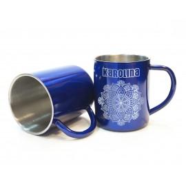 Metalowy kubek z grawerem- niebieski