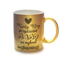 Złoty kubek ceramiczny z Twoim nadrukiem na Dzień Matki