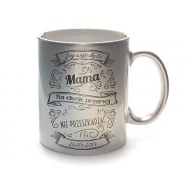 Srebrny kubek ceramiczny z Twoim nadrukiem na Dzień Matki