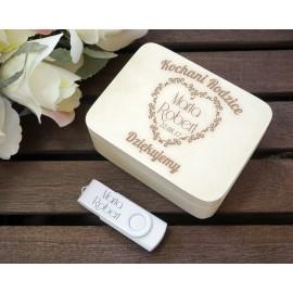 Pendrive na Ślub, Rocznicę, Podziękowanie w szkatułce