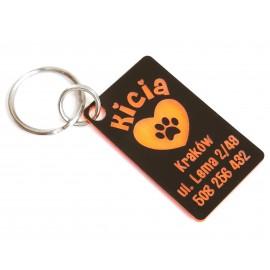 Pomarańczowa adresówka, identyfikator dla Kota, Psa