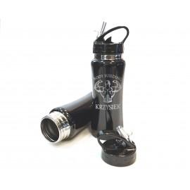 Czarny, metalowy bidon sportowy- 600 ml
