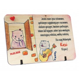 Drewniana deska z miłosnym nadrukiem