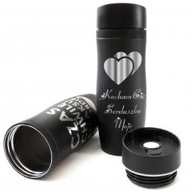 Kubek termiczny 350 ml czarny dla zakochanych