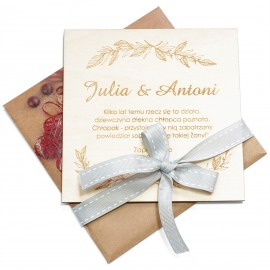 Drewniane zaprosznia Ślubne w kopercie
