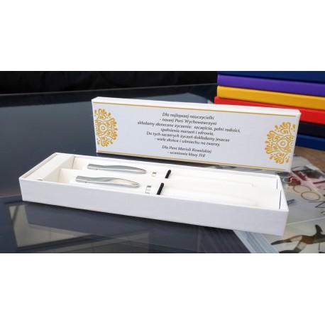 Długopis i pióro w białym etui