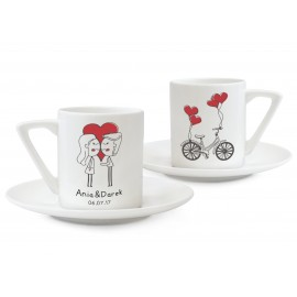Dwie filiżanka espresso prezent na ślub