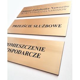 Złota samoprzylepna tabliczka na drzwi- 18 x 6 cm