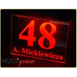 Tablica- 28x22 cm, numer domu, nazwa ulicy, podświetlana